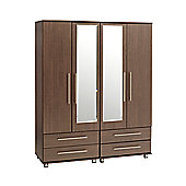 Ideal Furniture New York 4 Door Wardrobe - Gloss Black