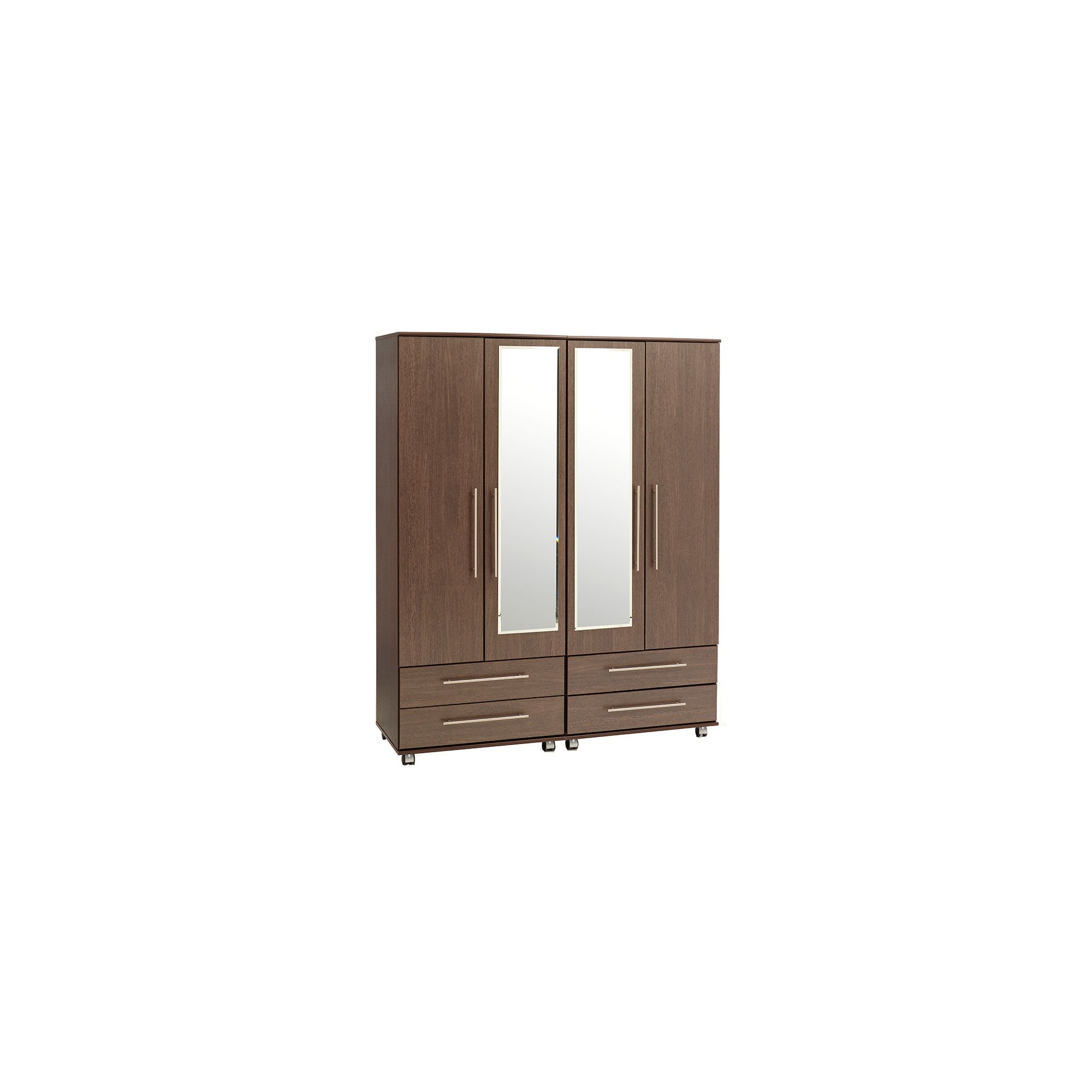 Ideal Furniture New York 4 Door Wardrobe - Gloss Black at Tesco Direct