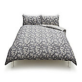 Cotton Rich Vintage Floral Print Duvet Set, - Black