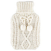 Novelty Knitted Hot Water Bottle, Cream