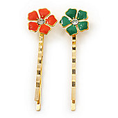 2 Teen Orang/ Green Enamel Crystal 'Flower' Hair Grips/ Slides In Gold Plating - 55mm Across