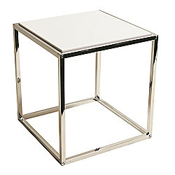 Domino - Stacking Cube Side / End Table - Silver / White