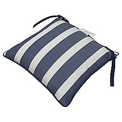 Striped Polycotton Garden Chair Cushion, Blue & White Stripes 35x35cm
