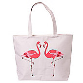 Puckator Flamingo Design Zip Fastening Cotton Tote Bag