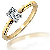 Jewelco London 18 Carat Yellow Gold 50pts Emerald Cut Ring