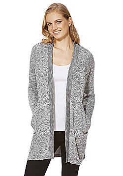 F&F Ribbed Open Front Cardigan - Grey
