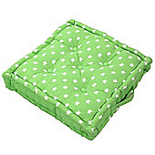 Homescapes Cotton Green Stars Floor Cushion, 50 x 50 cm