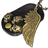 Urban Male Real Leather Necklace with Skull Dog Tag & Wing Pendant