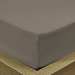 Julian Charles Percale Mocha Luxury 180 Thread Count Fitted Sheet - King Size