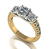 Charles and Colvard 18 ct Gold 3-stone Moissanite Ring