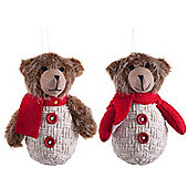 Pair of Hanging Fabric Bears in Scarves Plush Christmas Tree Decorations