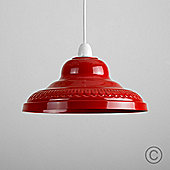 Delta Vintage Style Metal Ceiling Light Pendant Shade in Gloss Red