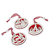 Set Of Nine Red And White Fretwork Christmas Tree Decorations