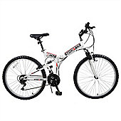 "Stowabike 26"" Mtb V2 Folding Dual Suspension 18Sp Gears Mountain Bike White"