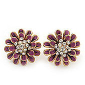 Purple Enamel Diamante Layered Stud Earrings In Gold Plating - 22mm Diameter