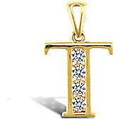 Jewelco London 9ct Gold CZ Initial ID Personal Pendant, Letter T - 1.7g