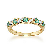 Gemondo Emerald Ring, 9ct Yellow Gold 0.44ct Natural Emerald & Diamond Half Eternity Ring