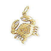Jewelco London 9ct Light Yellow Gold - Cancer Charm Pendant -