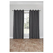 Faux Silk Lined Eyelet Curtains - Grey - 66 X 90
