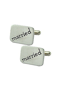 Married Pewter Square Cufflinks