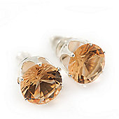 Classic Light Champagne Crystal Round Cut Stud Earrings In Silver Plating - 8mm Diameter