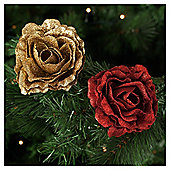 Tesco Glitter Rose Gold & Red Hanging Decoration, 2 Pack