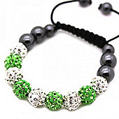 Clear and Green Crystal Unisex Fashion Bracelet - SHAMBRAC-183