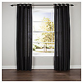 Silhouette Lined Eyelet Curtains W117xL137cm (46x54'') - - Black