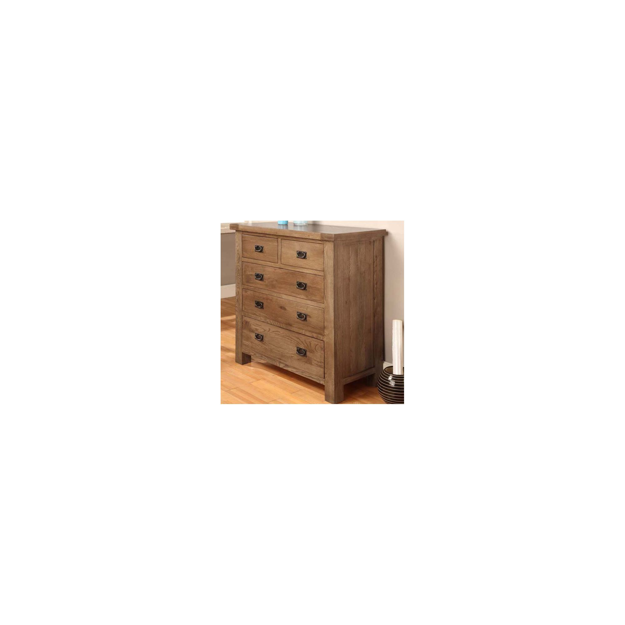 Hawkshead Brooklyn Five Drawers Chest in Rich Patina at Tesco Direct