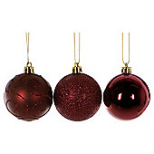 Festive Burgandy Baubles, 24 Pack