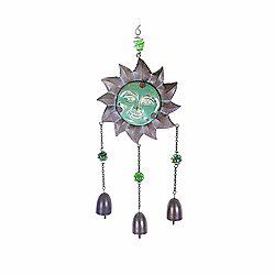 Hanging Metal & Ceramic Sun Face Garden Wind Chime