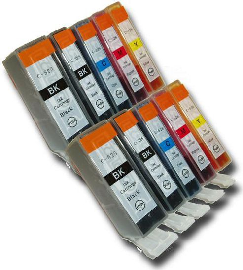 10 Chipped Compatible Canon PGI-525 & CLI-526 Ink Cartridges