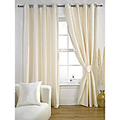 KLiving Ravello Faux Silk Eyelet Lined Curtain 90x72 Inches Cream