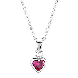 Jo For Girls Ruby CZ Heart Pendant