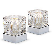 Pair of Glass Ice Cube Touch Table Lamps in Chrome