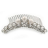 Bridal/ Wedding/ Prom/ Party Rhodium Plated Swarovski Crystal & Glass Pearl Hair Comb Tiara - 10.5cm