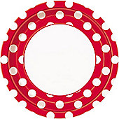Red Polka Dot Plates - 23cm Paper Party Plates