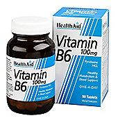 Health Aid Vitamin B6 (Pyridoxine HCl) 100mg 90 Tablets