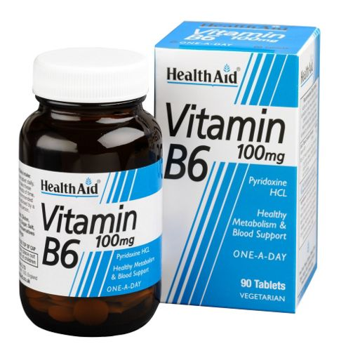Health Aid Vitamin B6 (Pyridoxine HCl) 100mg 90 Tablets