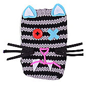Quirky Knitted Character Handy Phone Cover - Stripy Cat