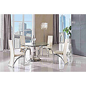 Naples Round Glass & Polished 130cm Dining table with 4 Ivory Alisa Chairs