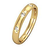 9ct Yellow Gold - Diamond - 3mm Court-Shaped Wedding Ring