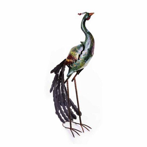 buy large green coloured peacock metal garden ornament. Black Bedroom Furniture Sets. Home Design Ideas