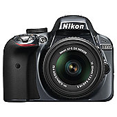 "Nikon D3300 Digital SLR, Grey, 24.2MP, 3"" LCD Screen, 18-55 VR Lens"