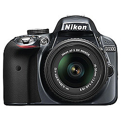 "Nikon D3300 Digital SLR, Grey, 24.2MP, 3"" LCD Screen, 18-55 VR Lens"
