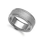 Jewelco London Bespoke Hand-Made 18 carat White Gold 8mm Flat Court Wedding / Commitment Ring,