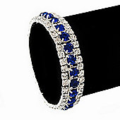 Royal Blue/Clear Swarovski Crystal Flex Bracelet (Silver Tone Metal) - 18cm Length