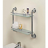 Bathroom Chrome & Glass Shelf - 2 Tier - Modern and Stylish Storage