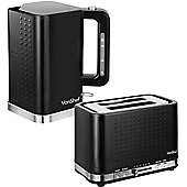 VonShef Premium Black Kettle and Toaster Set