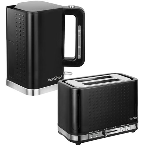 buy vonshef premium black kettle and toaster set from our. Black Bedroom Furniture Sets. Home Design Ideas